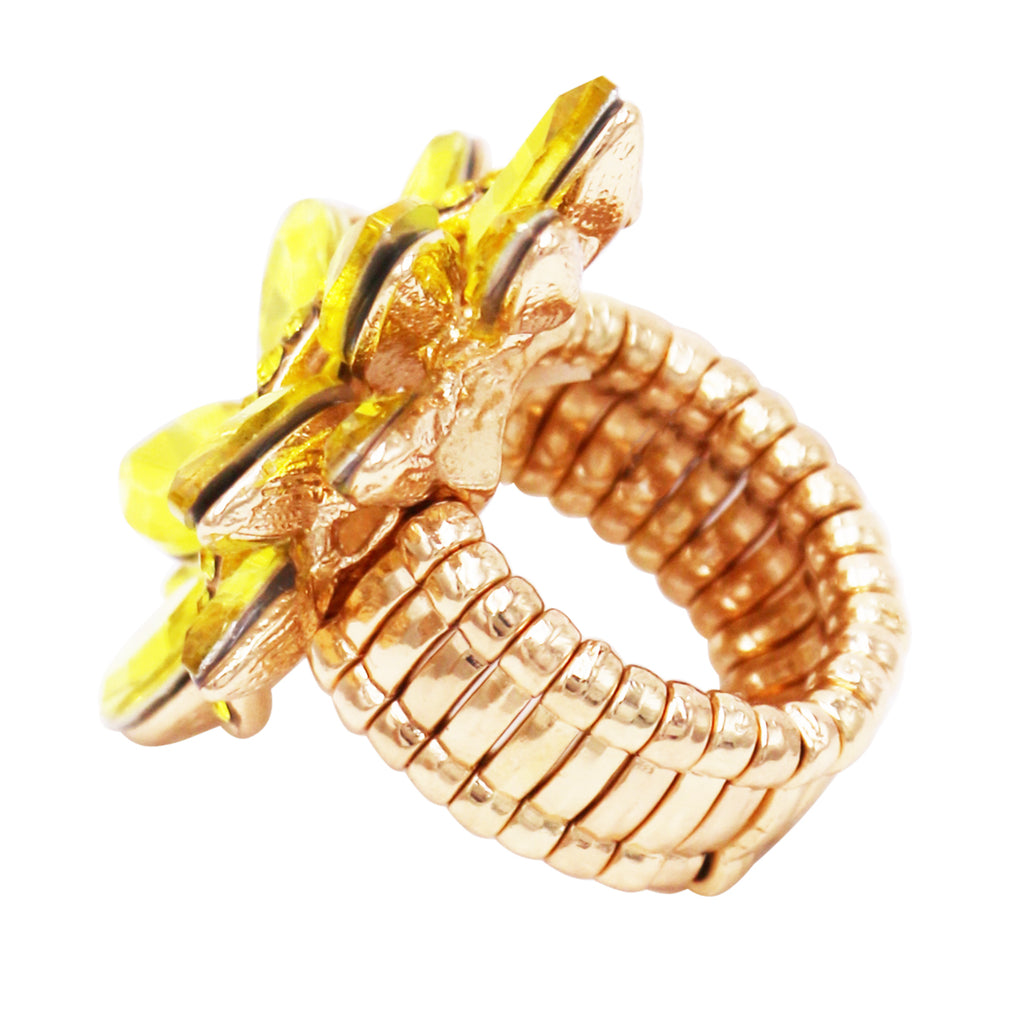 Dazzling Crystal Leaf Stretch Cocktail Ring (Yellow)
