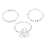 Silver Tone Glass Crystal Flower Memory Wire 3 Piece Ring Set