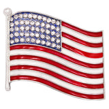 Women's United States of America Crystal Rhinestone Enamel Flag Lapel Pin Brooch USA