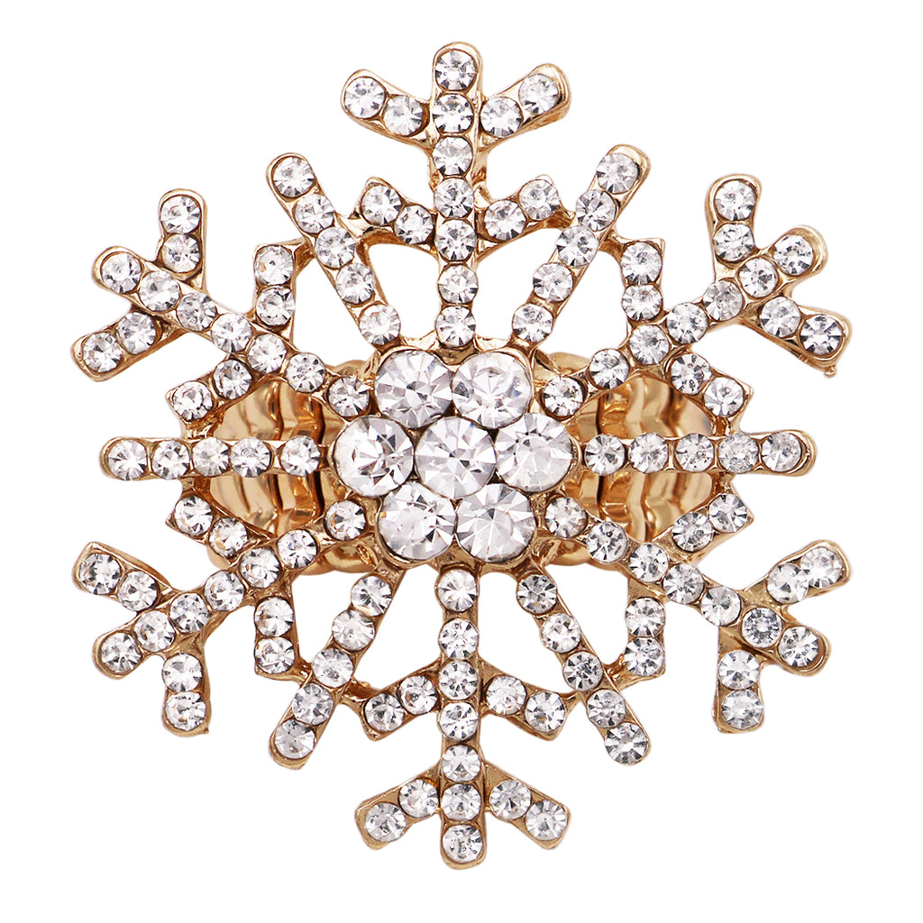 Oversize Dazzling Crystal Pave Christmas Holiday Winter Snowflake Stretch Cocktail Ring (Gold Tone)