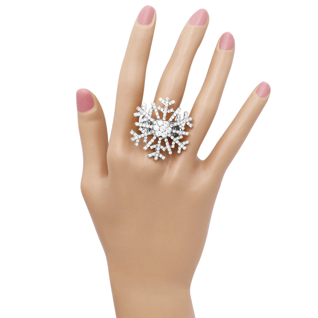 Oversize Dazzling Crystal Pave Christmas Holiday Winter Snowflake Stretch Cocktail Ring (Silver Tone)