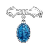 Religious Miraculous Medal Petite Brooch Pin Something Blue for the Bride