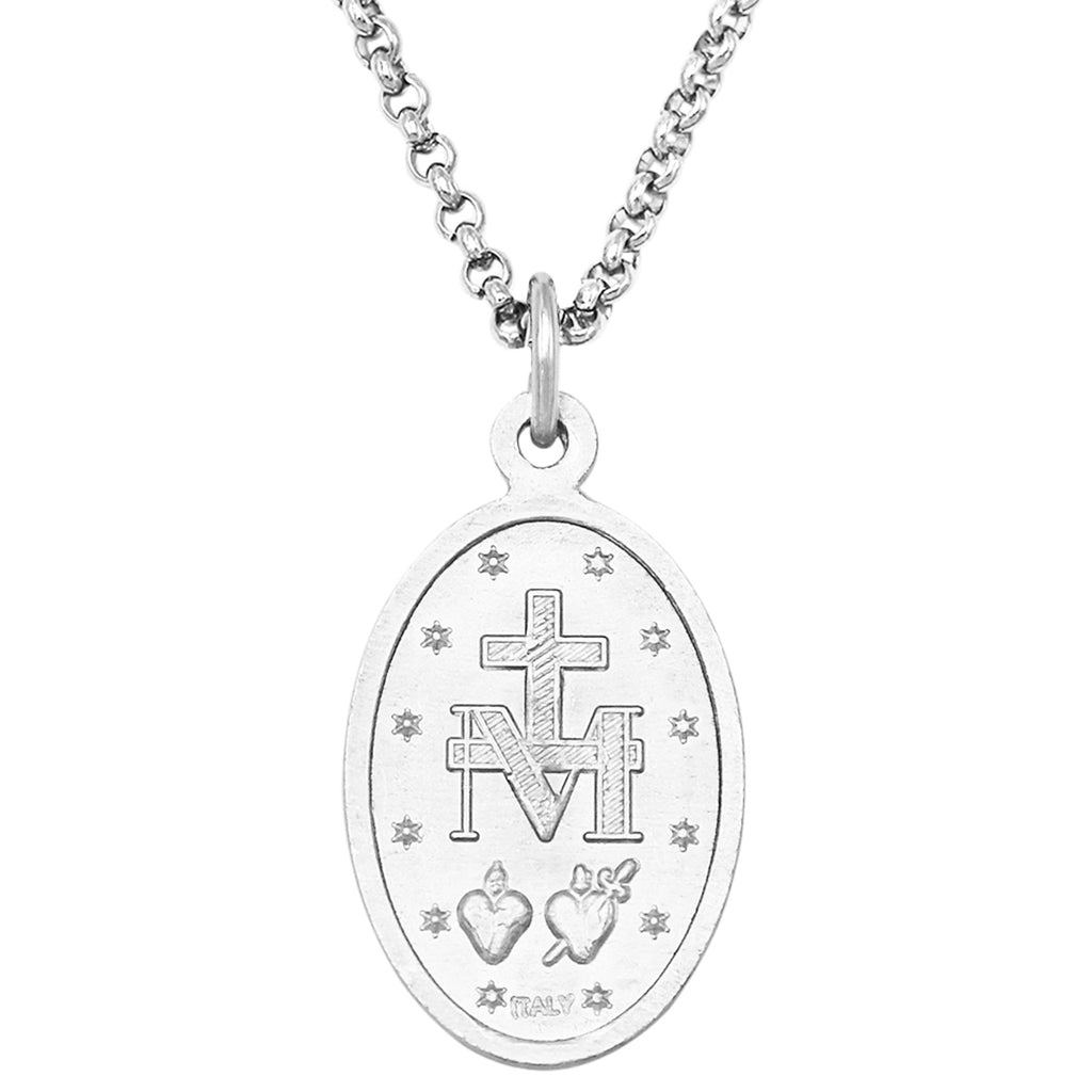Blue Enamel Miraculous Medal of Mary Religious Pendant Necklace, 18""