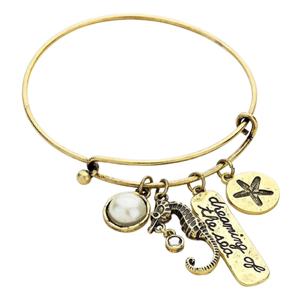 Dreaming of the Sea Gold Tone Charm Bangle Bracelet