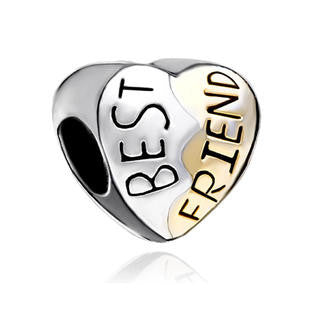 Heart Best Friend Silver and Gold  Style Charm Bead Fits All Brand Charm Bracelets