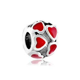Beautiful Red Hearts  Style Charm Bead Fits Pugster  Troll