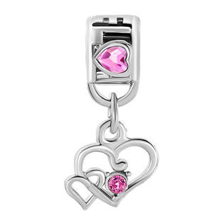 Pink Double Heart Crystal Dangle  Style Bead Fits All Brand Charm Bracelets