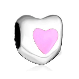 Pink and Silver Heart  Style Bead Fits All Brand European Charm Bracelets