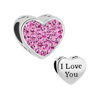 Pretty Pink Crystal Heart  Style Charm with I Love You Fits All Style Bracelets