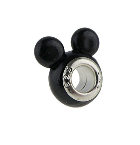 Black Darling Mouse Ears European Style Charm Bead