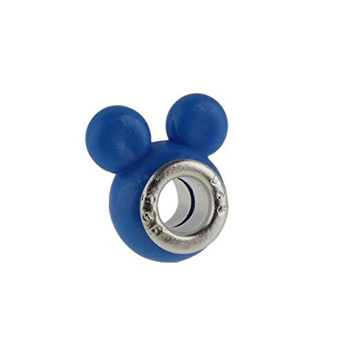 Blue Darling Mouse Ears  Style Charm Bead Fits All Brand Charm Bracelets