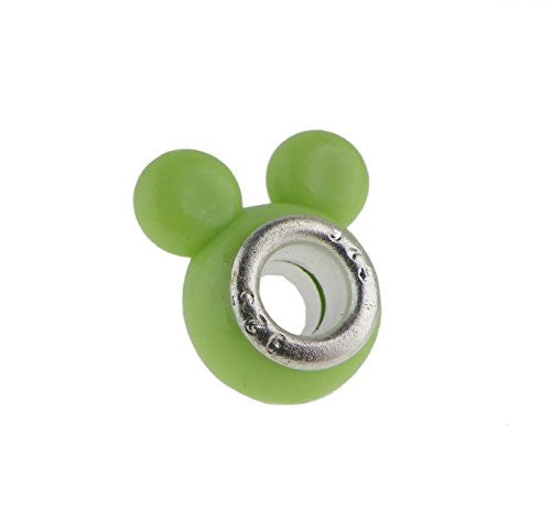 Darling Mouse Ears Peridot  Style Charm Bead Fits All Brand Charm Bracelets