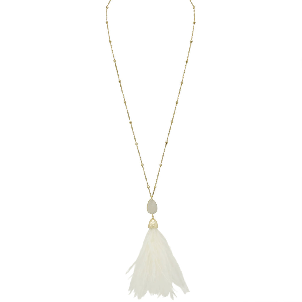 Long Pendant Druzy Stone and Feather Tassel Necklace (Ivory)