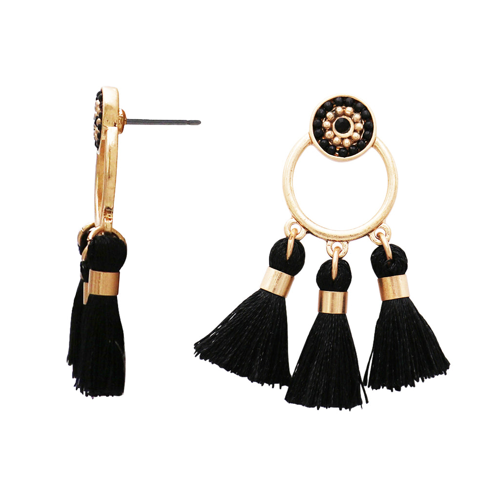 Jet Black Triple Tassel Long Chandelier Earrings