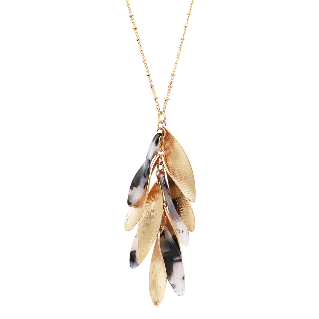 Metal and Celluloid Feather Long Pendant Statement Strand Necklace (Black and White)