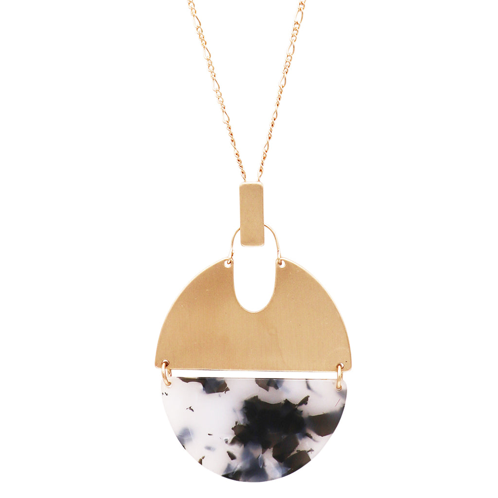 Celluloid Half Circle and Textured Disc Long Strand Pendant Necklace