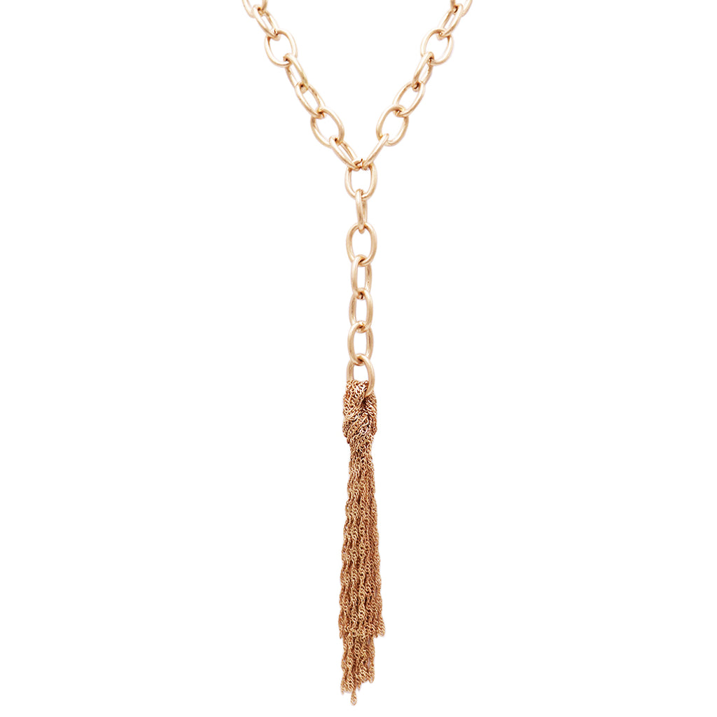 Statement Matte Gold Y-Drop with Chain Fringe Tassel Necklace