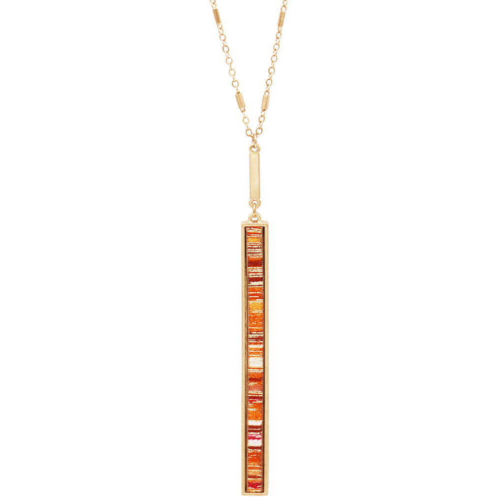 Statement Metal and Suede Orange Vertical Bar Necklace Earring Set (Necklace Only)