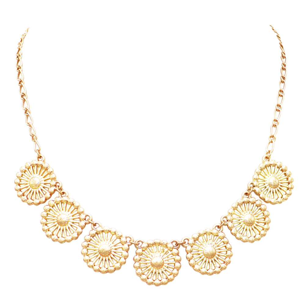 Women's Beautiful Metal Filigree Disc Doily Charm Matte Gold Tone Necklace