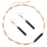 Stunning Black Natural Semi Precious Stone Bar Necklace Earring Set (Necklace Earring Set)