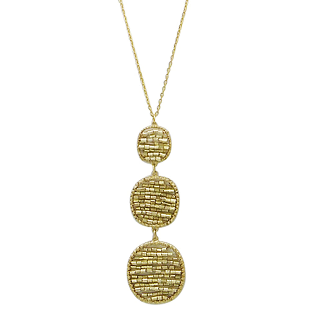 Gold Beaded Circle Long Pendant Necklace