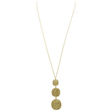 Gold Beaded Fashion Statement Multiple Circle Long Pendant Necklace, 30