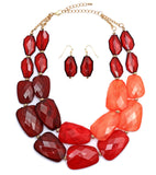 Red Ombre Statement Necklace Earring Jewelry Set