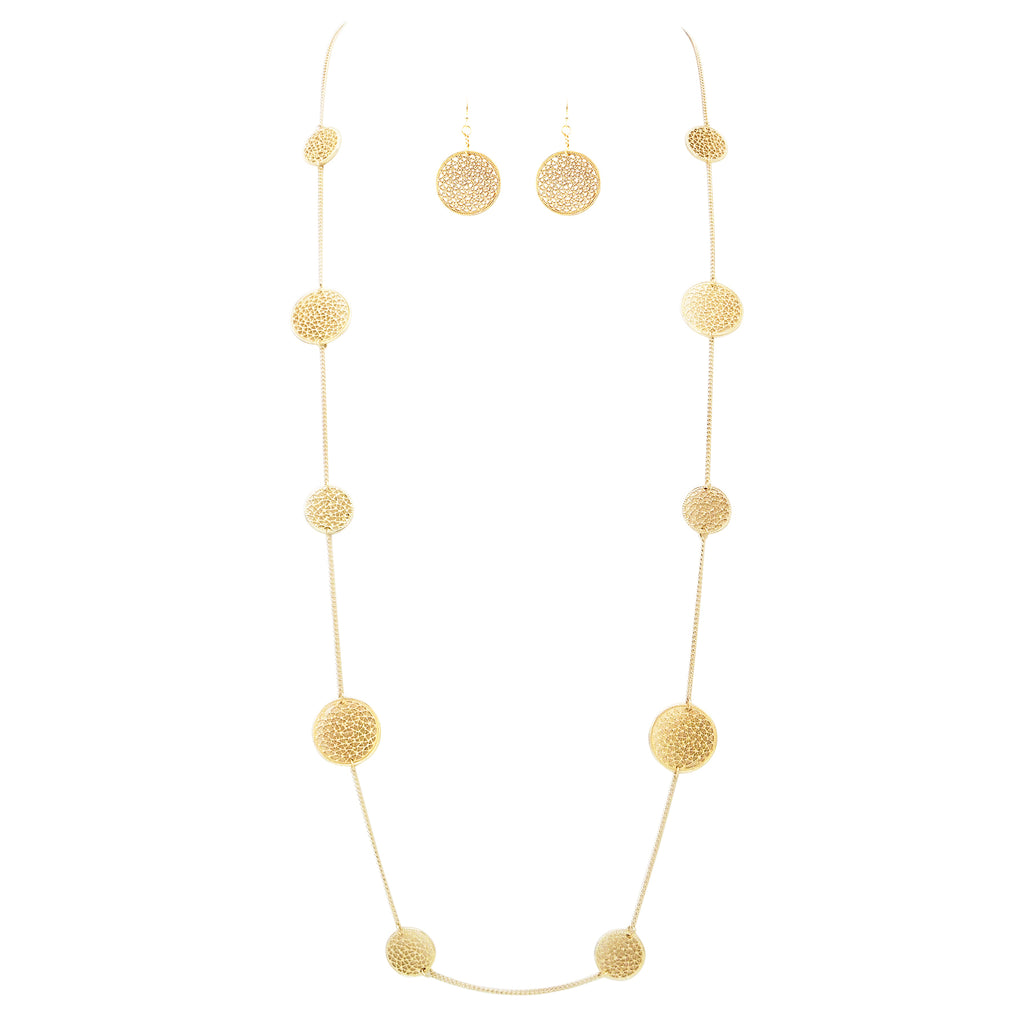 Gold Tone Filigree Disc Long Necklace Set