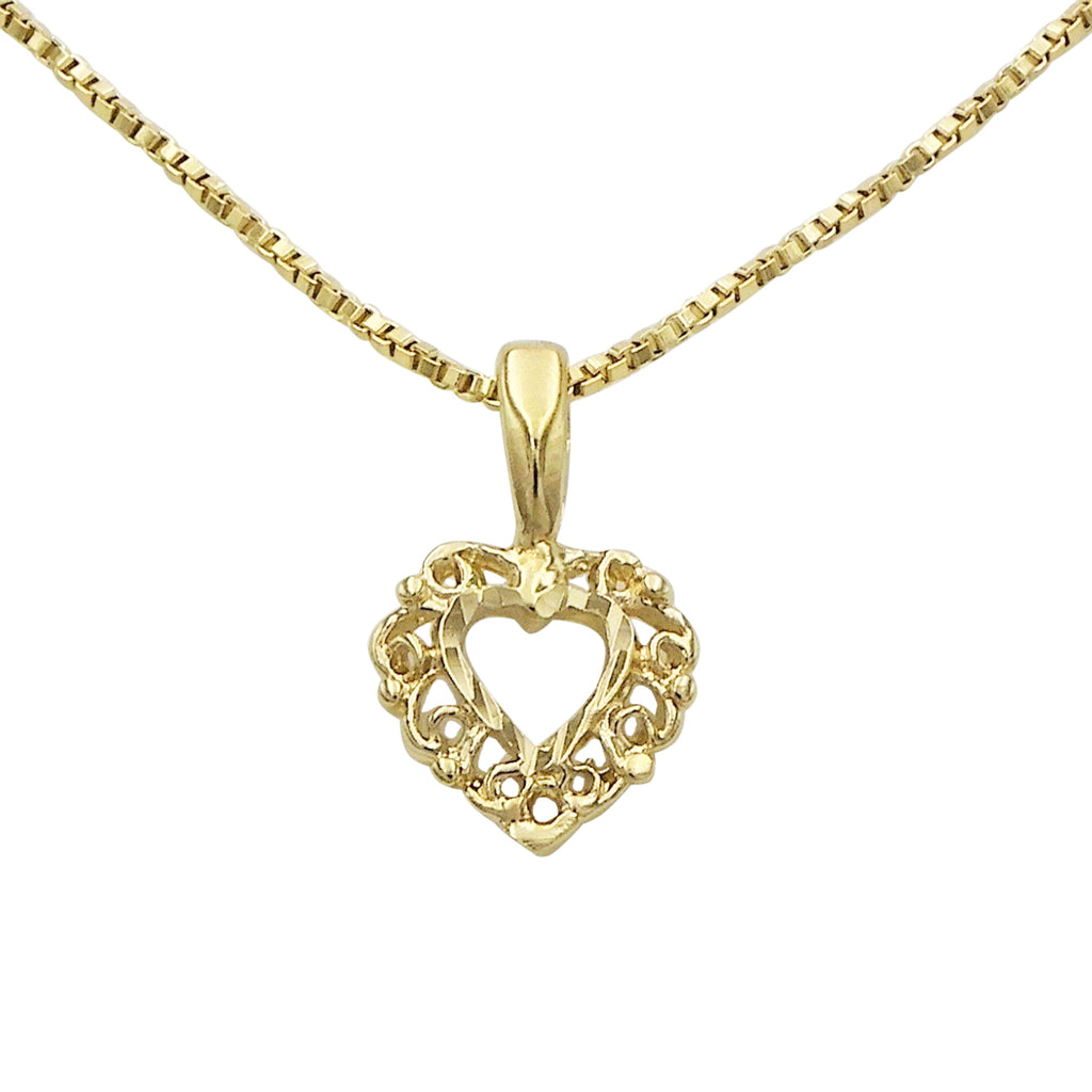 Lovely Dainty Gold Plated Petite Heart Pendant Necklace, 18""