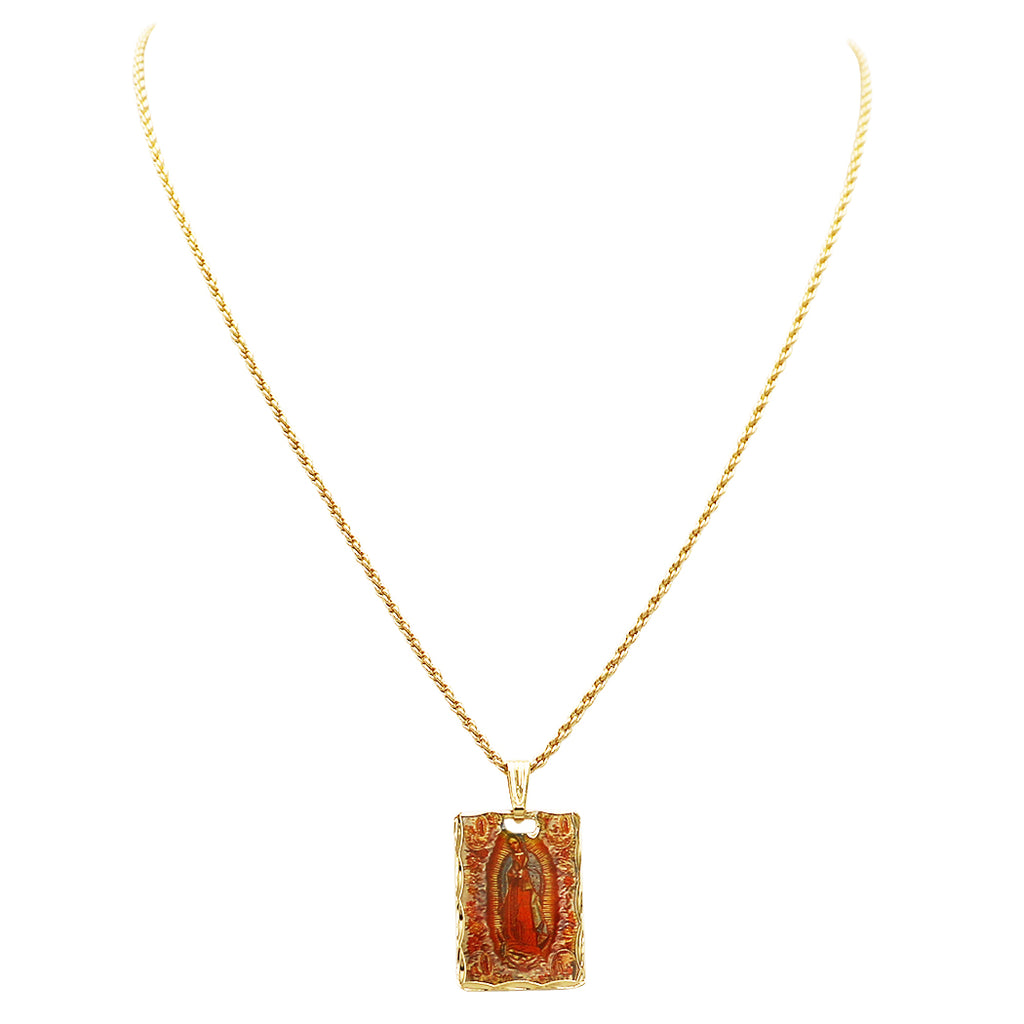 Our Lady of Guadalupe Small Rectangle Pendant Necklace