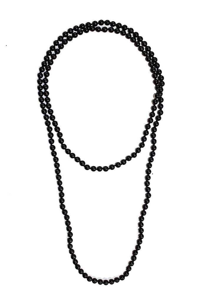 60 Inch Knotted Strand Black Faux Pearl Necklace
