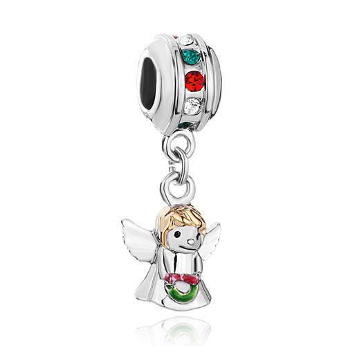 Silver Christmas Angel with Two Tone Gold. White Red and Green Enamel and Rhinestone Spacer- Fits All European Charm Bracelets