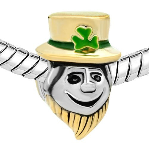 Irish Leprechaun Two-tone Bead with Green Accents- Fits All European Charm Bracelets