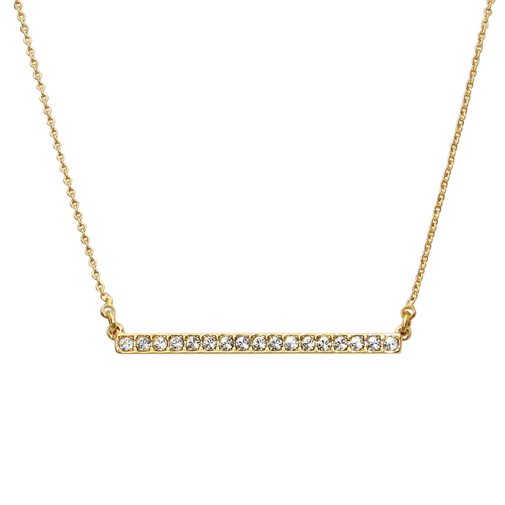 Rhinestone Bar Pendant Necklace