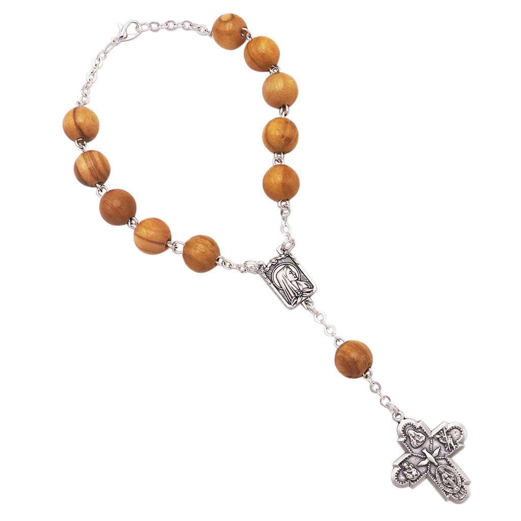 Religious One Decade Car Rosary Olive Wood 4 Way Cross