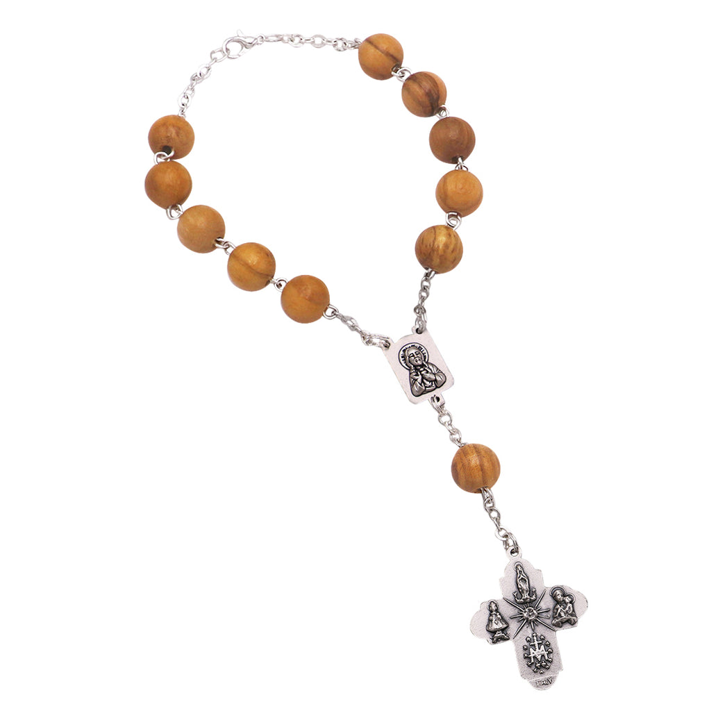 One Decade Auto Rosary For Rear View Mirror Travelers Brown Wood