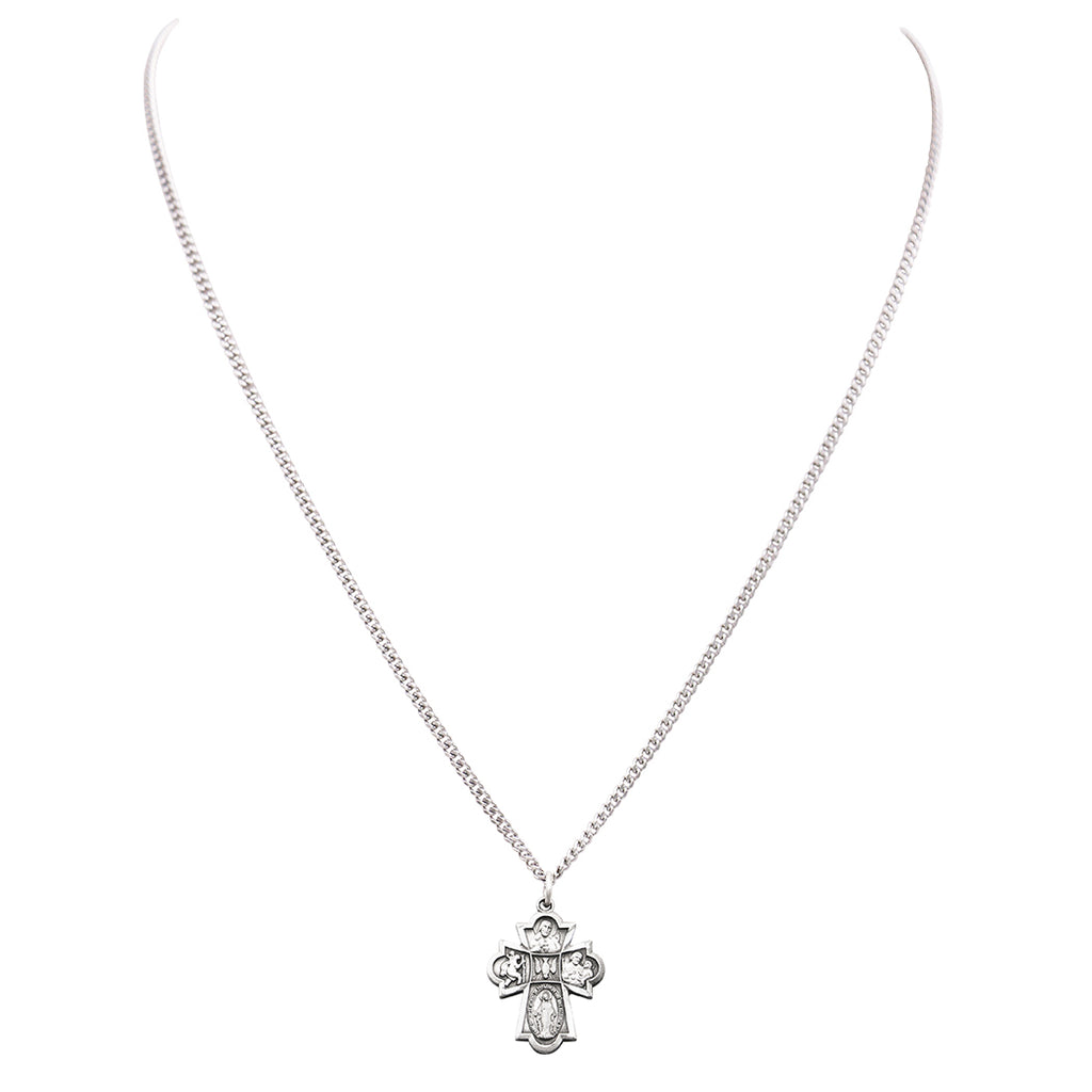 Rosemarie Collections Small Religious Four Way Cross Pendant Necklace 18""