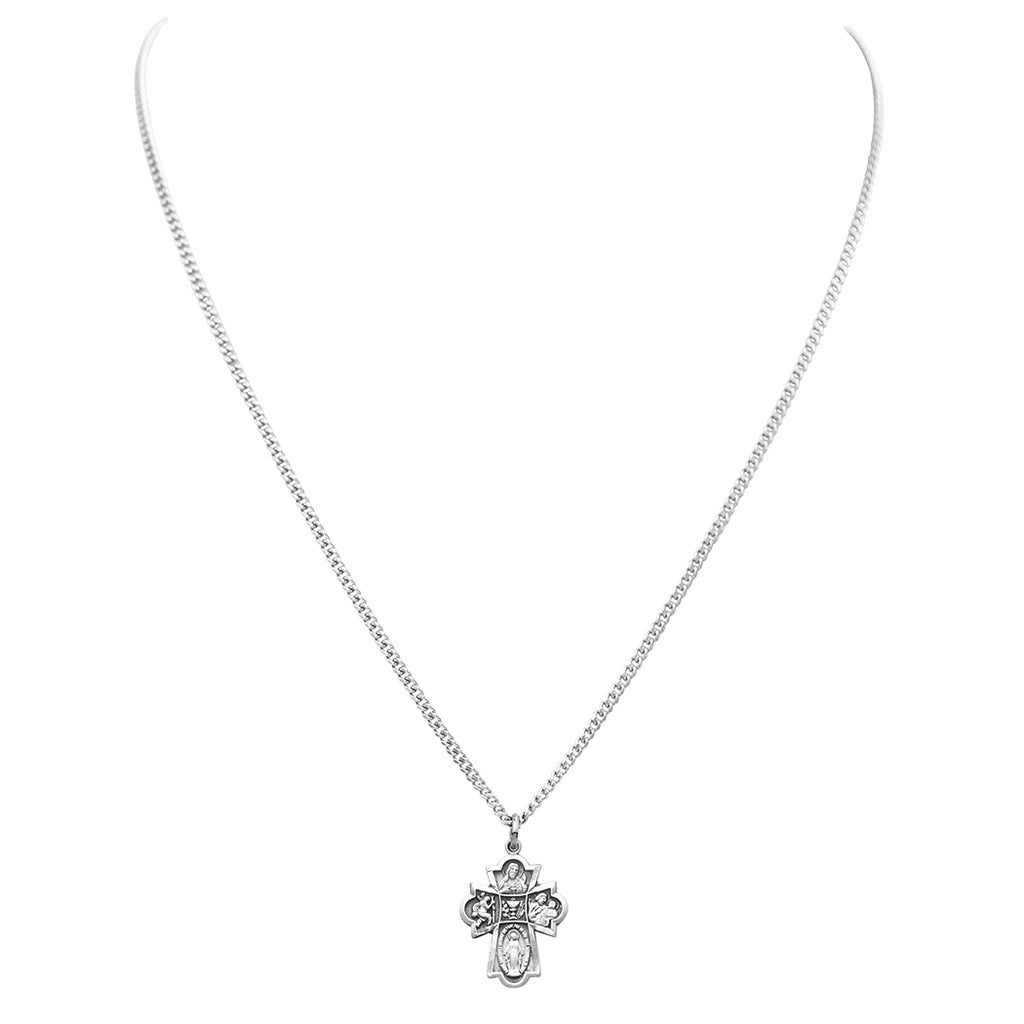 Religious Gift First Communion Four Way Cross Pendant Necklace 18""