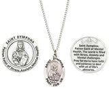 Rosemarie Collections Saint Pendant Necklace and 2 Religious Pocket Tokens (St Dymphna)