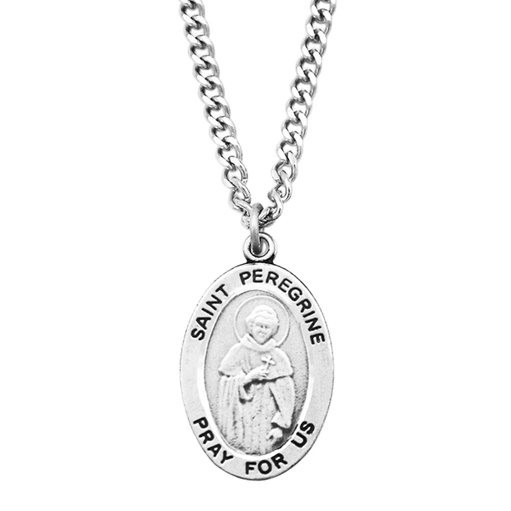 "Rosemarie Collections Religious Saint Medal Pendant Necklace 24"" (St Peregrine)"