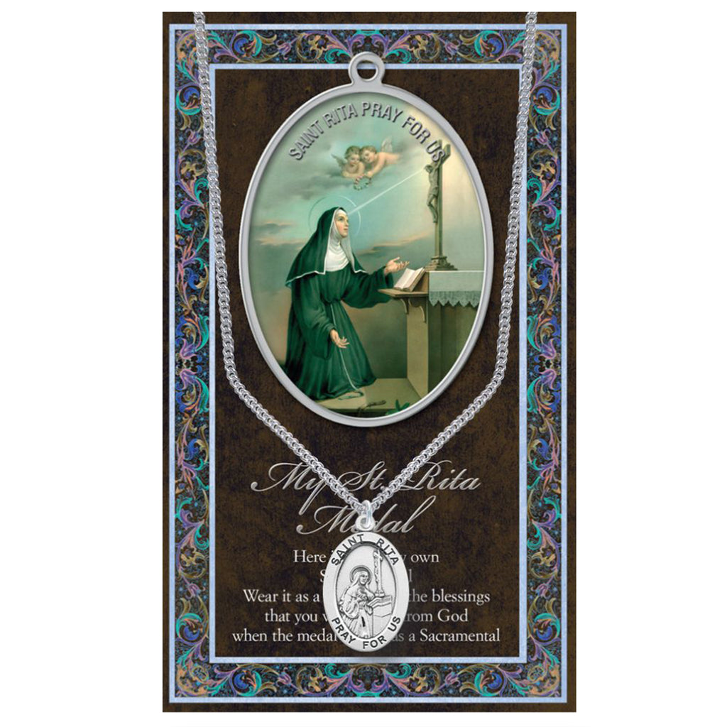 "Religious Medal Pendant Necklace 18"" (St Rita Patron Saint of The Impossible)"