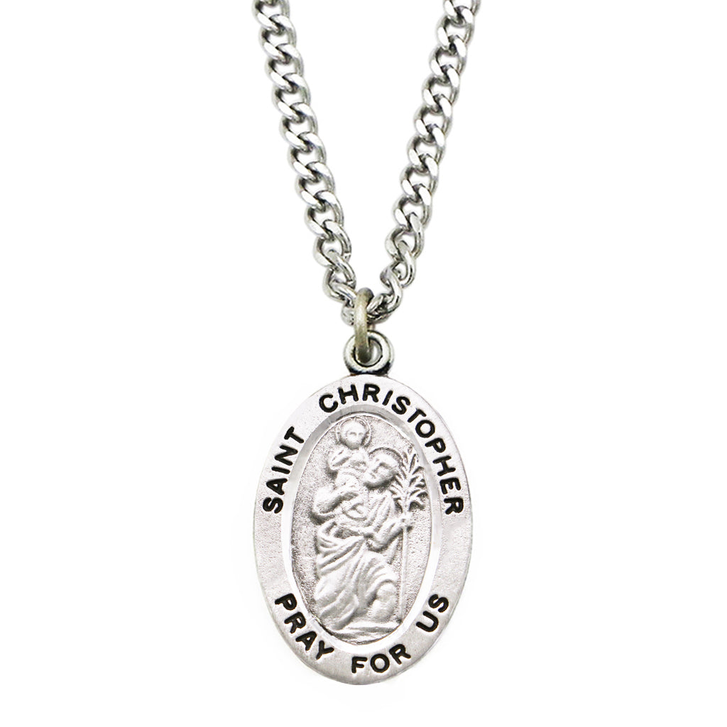 Rosemarie Collections Religious Saint Medal Pendant Necklace (St Christopher)