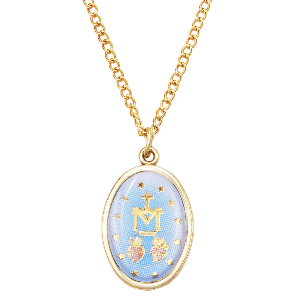 Religious Oval Medal Pendant Necklace (Miraculous Medal)