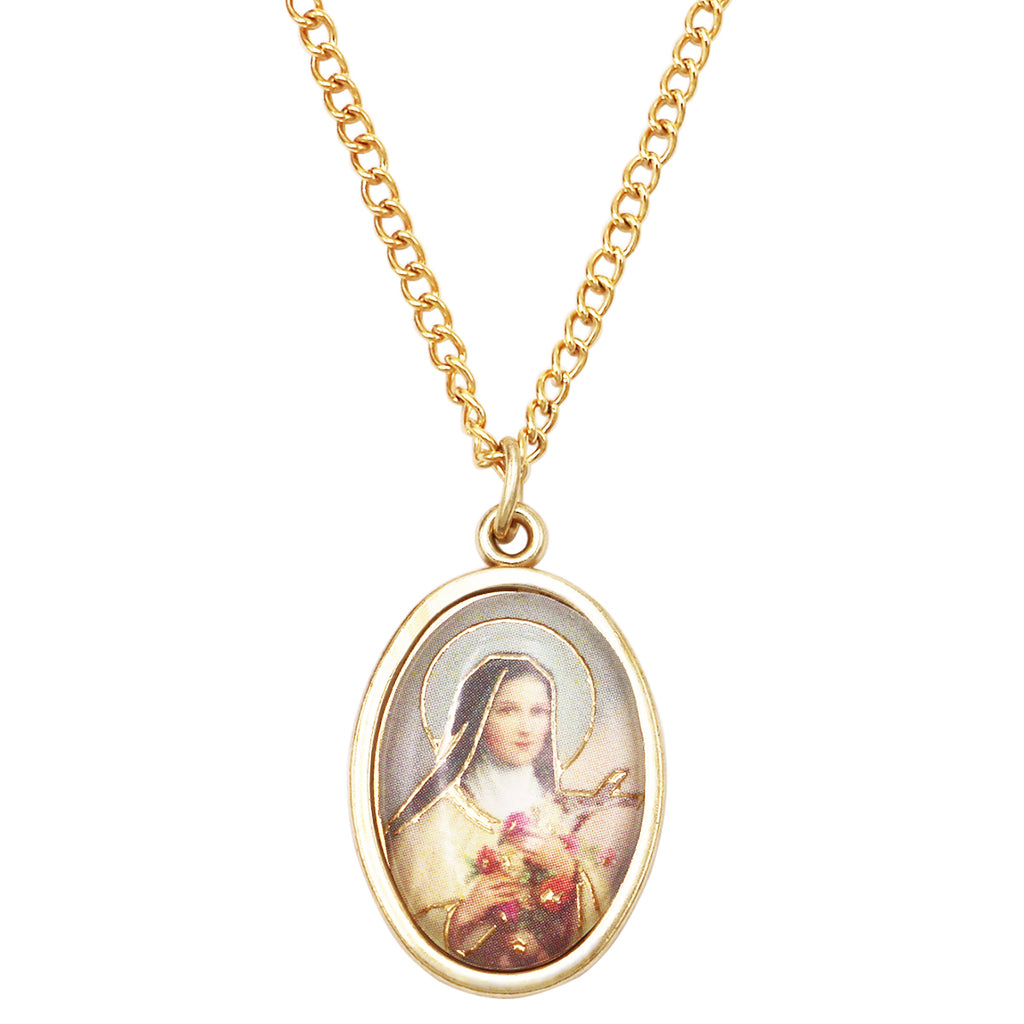 Religious Oval Medal Pendant Necklace (St Therese)