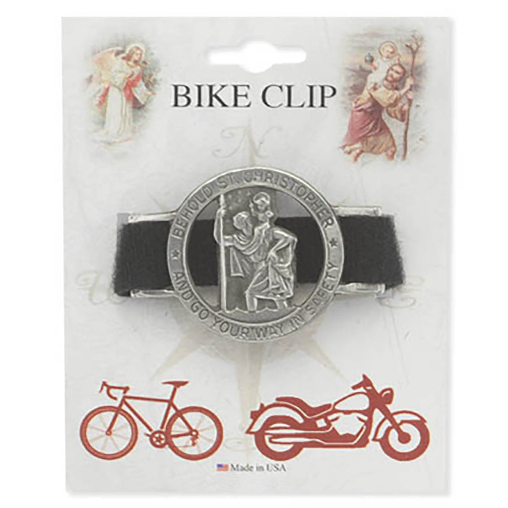 "Rosemarie Collections Religious Pewter St Christopher Medal ""Go Your Way In Safety"" (Bike Clip)"