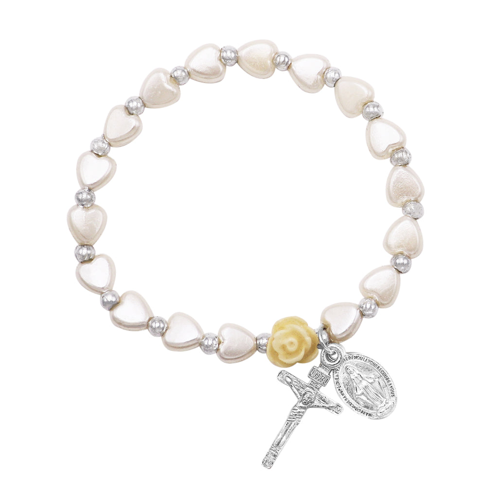 Girl's Religious First Communion Heart Shape Bead Stretch Bracelet with Miraculous Medal and Cross Charms