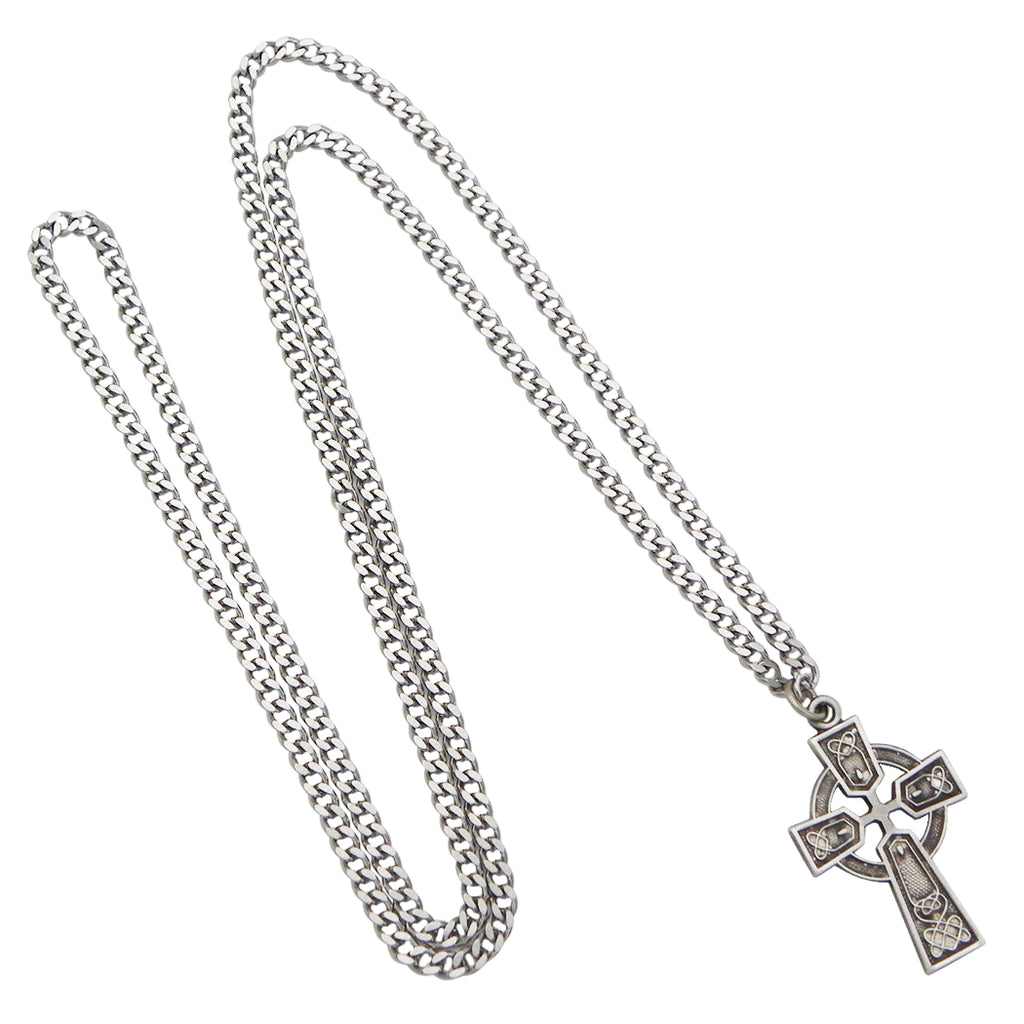 Irish Religious Castledermot Celtic Cross Pendant Necklace