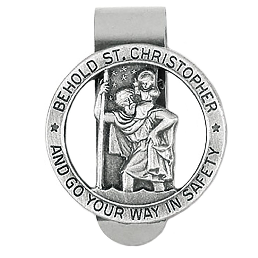 "Rosemarie Collections Religious St Christopher Medal ""Go Your Way In Safety"" (Auto Visor Clip)"