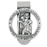 Hand Engraved Religious St Christopher Medal Go Your Way in Safety (Auto Visor Clip)