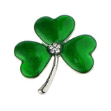 Irish Shamrock Crystal Enamel Brooch Silver Tone